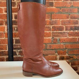 J.CREW BROWN LEATHER KNEE-HIGH RIDING BOOT